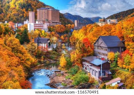 The Hot Springs resort town of Jozankei in the northern island of Hokkaido, Japan. - stock photo
