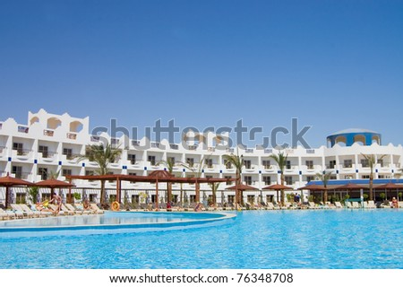 The hotel facade in Egypt With pool - stock photo