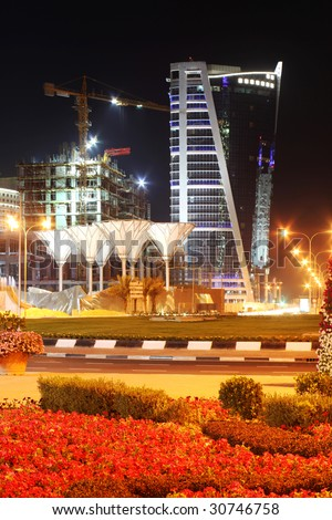 The hotels area of, Doha, Qatar, at night, April 2009. - stock photo