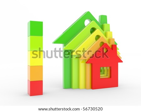 The house and scale of energy of efficiency on a white background - stock photo