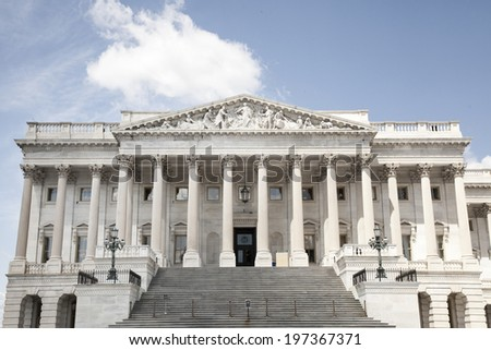 the house and senate wing of capitol building in washington d.c. - stock photo