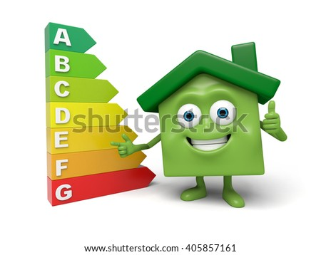 The house and the energy consumption grade mark - stock photo