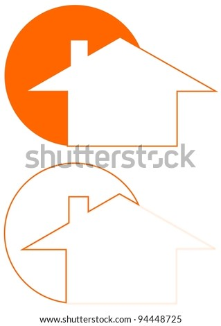 The house and the sun as a logo - Illustration - stock photo