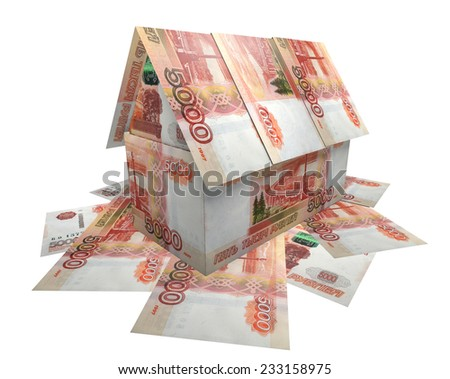 The house, built of banknotes 5,000 rubles  - stock photo