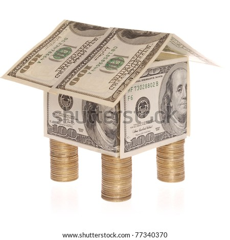 The house from dollars costs on coins. Flood Insurance. On white background.