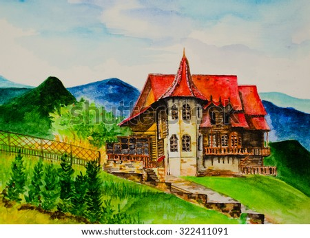 The house in mountains, drawing - stock photo