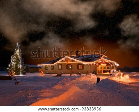 The house in village in Christmas night - stock photo
