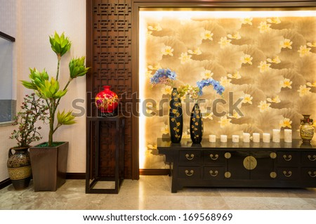 the house interior decoration of Chinese style - stock photo