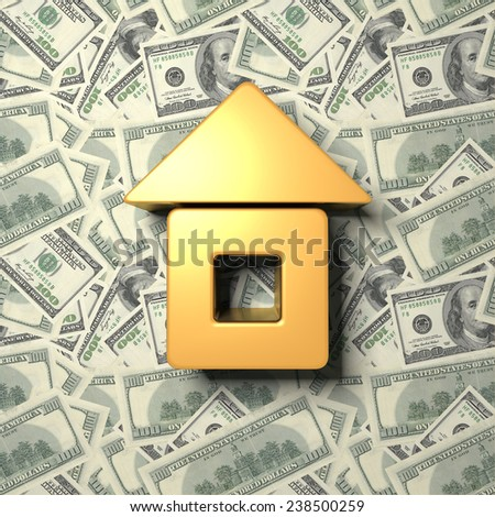 The house on the background of dollars - stock photo