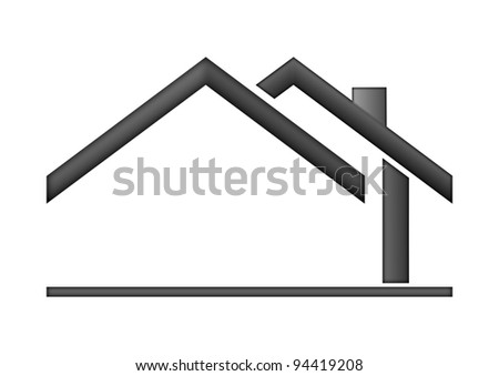 The house roof as a logo - Illustration - stock photo