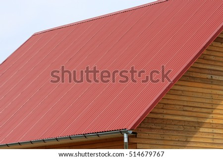 House roof galvanized steel polymer coating stock photo for Polymer roofing