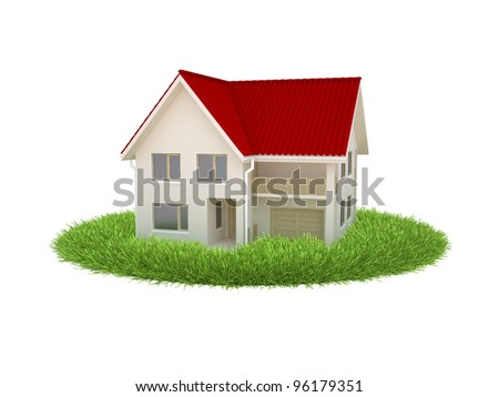 the house stands on the grass, symbolizing the environment clean