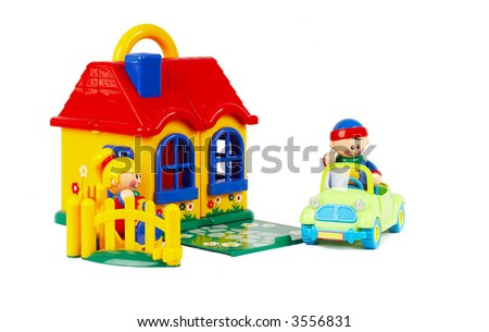 The house the machine, family - insurance. Toys on a white background - stock photo
