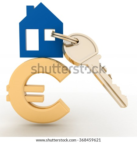 The house with a key on a euro sign. Concept real estate prices in the Europe - stock photo