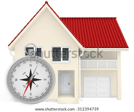 The house with a red roof and a compass in the foreground. Isolated on white background. - stock photo