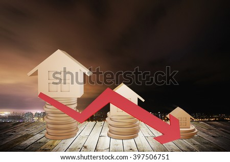 The house with the arrow - stock photo