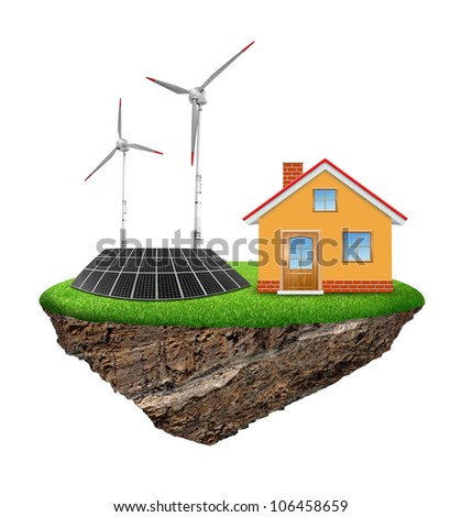 The house with wind turbine and solar panel isolated on white background - stock photo