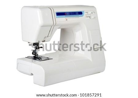 the household sewing-machine on a white background - stock photo