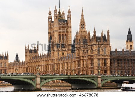 The Houses of Parliament and Westminster Bridge. London, England - stock photo