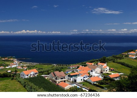 The houses on coast of the Faial island - stock photo