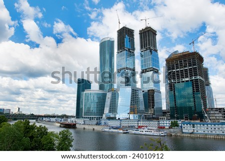 The huge construction site of the Moscow City highrise complex in Russia