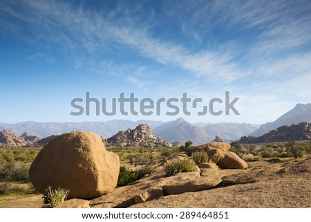 the huge rocks in morocco tafraoute - stock photo