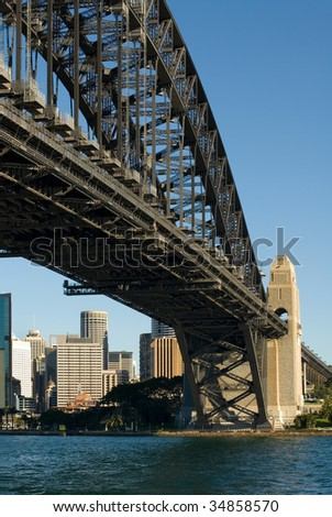 The huge steel structure of the Harbour Bridge, Sydney, Australia. - stock photo