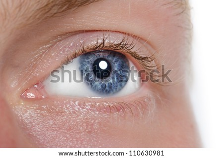 The human eye is blue, close-up. Macro - stock photo