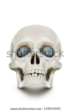"""The human skull isolated on white background.""""Elements of this image furnished by NASA"""" - stock photo"""