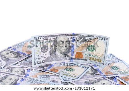 The hundred dollars isolated on white background