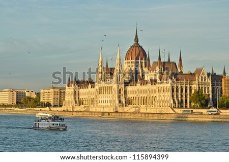 The Hungarian Parliament Building at sunset