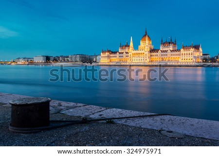 The Hungarian Parliament building at sunset, Budapest, Hungary - stock photo