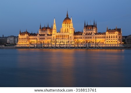 The Hungarian Parliament Building in Budapest during the evening.