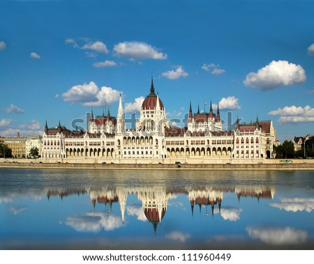 The Hungarian Parliament Building is the seat of the National Assembly of Hungary, one of Europe's oldest legislative buildings. World Heritage Site by UNESCO - stock photo