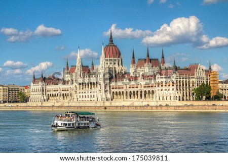 The Hungarian Parliament Building is the seat of the National Assembly of Hungary, one of Europe's oldest legislative buildings. Budapest - World Heritage Site by UNESCO - stock photo