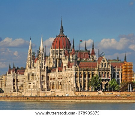 The Hungarian Parliament Building is the seat of the National Assembly of Hungary, one of Europe's oldest legislative buildings. Danube River embankment in Budapest is World Heritage Site by UNESCO - stock photo