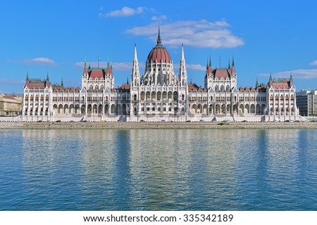 The Hungarian Parliament Building on the bank of the Danube in Budapest - stock photo
