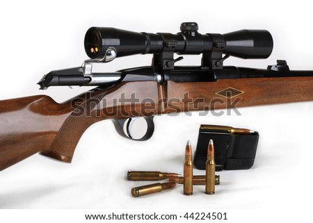 The hunting rifle, calibre 308win, possesses the big destructive power and is intended for hunting for large wild animals. With the taken out holder and an open shutter. - stock photo