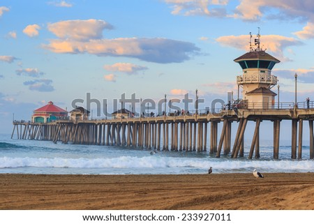 The Huntington Beach pier at sunrise, CA - stock photo