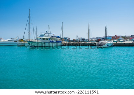 The Hurghada Marina is the notable tourist landmark, there are always many luxury yachts, tourist boats and ships for the best trips along the coast, Egypt. - stock photo