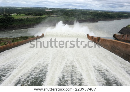 The hydroelectricity dam of Itaipu between Brazil and Paraguay - stock photo