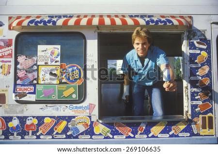 The ice cream man, Chicago, IL - stock photo