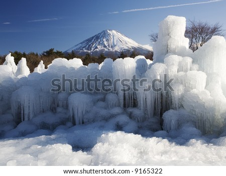 The ice plastic arts with Mt,Fuji - stock photo