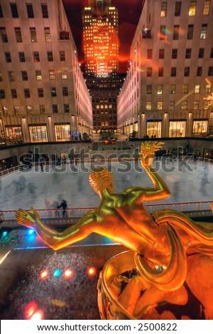 The Ice Rink at Rockefeller Center,NY,USA - stock photo