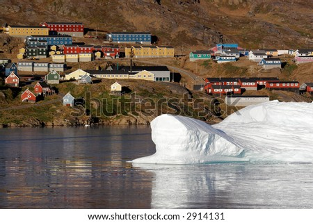 The iceberg floating near the city of Amassalik, Greenland - stock photo