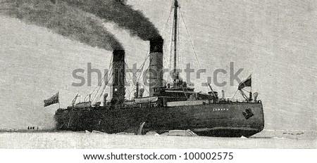 "The icebreaker ""Ermak"". Engraving by  Rashevsky. Published in magazine ""Niva"", publishing house A.F. Marx, St. Petersburg, Russia, 1899 - stock photo"