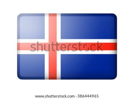 The Icelandic flag. Rectangular matte icon. Isolated on white background. - stock photo