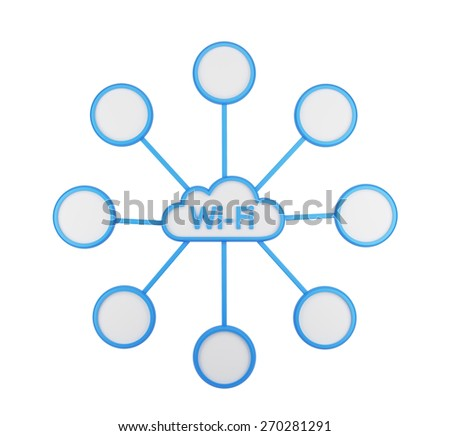 The icon of wi-fi cloud. The concept of wireless internet access and data storage. Isolated - stock photo