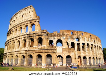 The iconic ancient Colosseum of Rome - stock photo