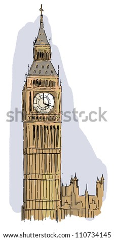The iconic and historical architecture of Europe - the big ben in London - illustration for the children - stock photo